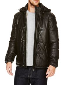 Quilted leather look padded Jacket