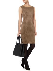 Herringbone knitted shift dress