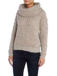 Knit jumper with removable cowl neck