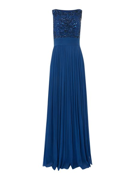 Untold Sleeveless gown with beaded mesh top