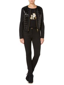 Biba Sequin front zip up luxe denim jacket