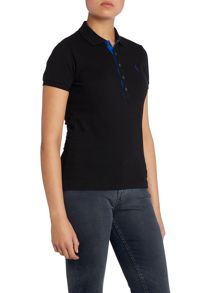 Contrast placket polo top