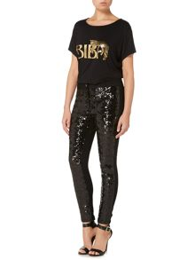 Sequin Front Panel Skinny Jeans