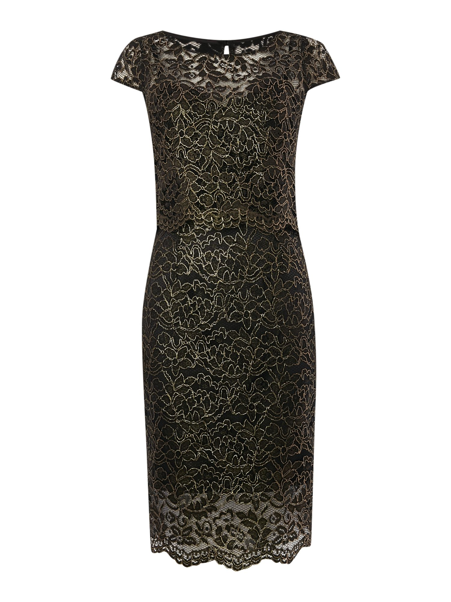 Untold Lace dress with overlay top and scallop edge, Black Gold