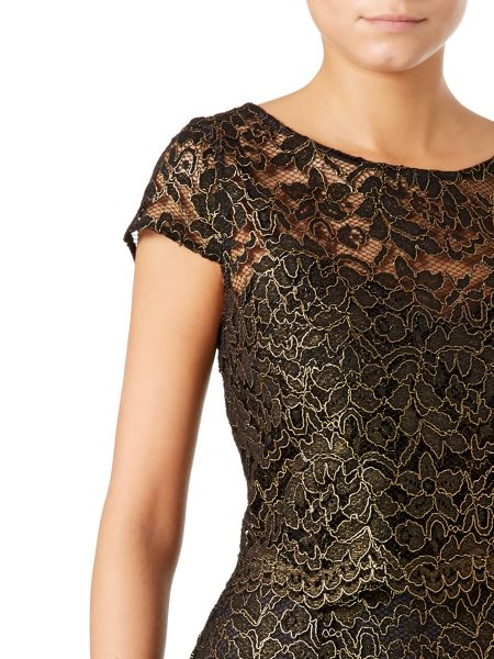 Untold Lace dress with overlay top and scallop edge
