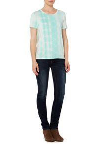 Linea Weekend Crew Neck Tie Dye Dipped Hem Tee