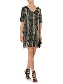 Biba Tassel Fully Embellished V Neck Dress
