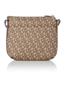 Coated logo neutral top zip cross body bag