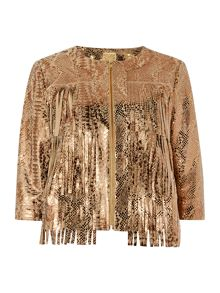 Real suede leather printed snake tassel jacket