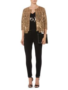 Biba Real suede leather printed snake tassel jacket