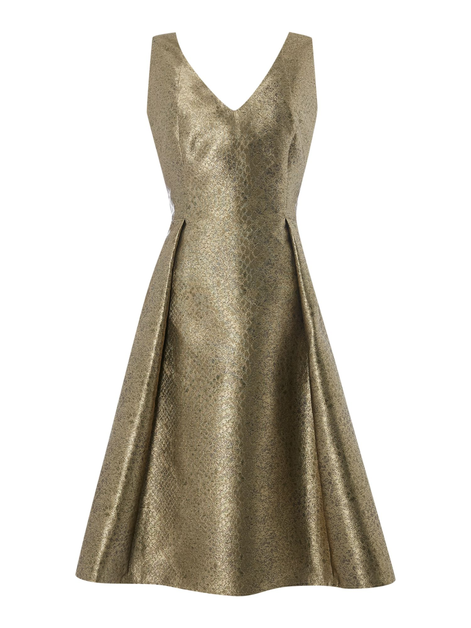 Untold Metallic fit and flare dress, Gold