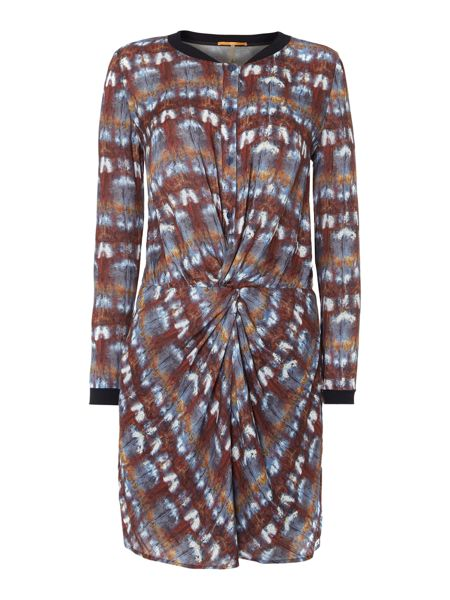 Hugo Boss Long sleeve gathered front dress