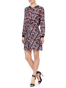 Long sleeve gathered front dress
