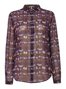 Print sheer button up blouse