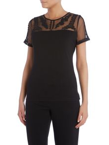 Short sleeve top with embellished mesh
