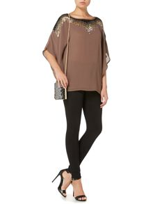 Embellished square volume blouse