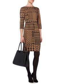 Dogtooth ponte shift dress