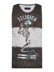 Religion Loose Fit Praying Skeleton Logo Vest