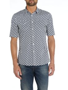 All Over Penguin Print Short Sleeve Shirt