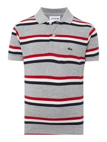 Boys Short Sleeved Multi Stripe Polo