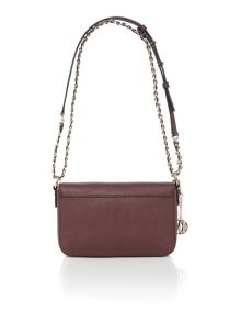 Saffiano burgundy small flap over cross body bag