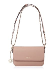 Saffiano light pink small flap over crossbody bag