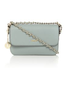Saffiano light blue small flap over crossbody bag