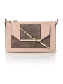 Saffiano suede light pink small cross body bag