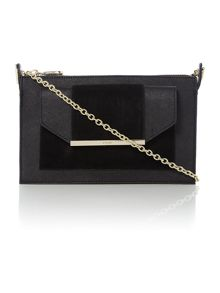 Saffiano suede black small cross body bag