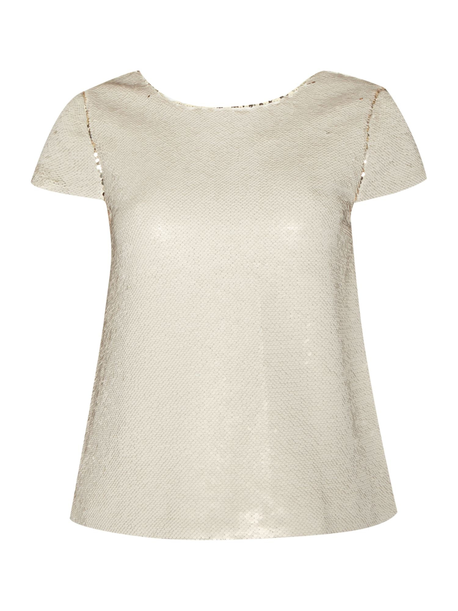 Vince Camuto Cap sleeve top with double faced sequins, Gold