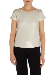 Cap sleeve top with double faced sequins