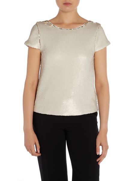Vince Camuto Cap sleeve top with double faced sequins