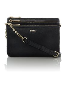 Riverside black triple zip mini cross body bag