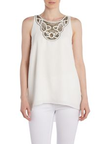 Vince Camuto Sleevelss top with embellished neck