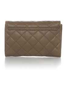 Quilt taupe small flap over cross body bag