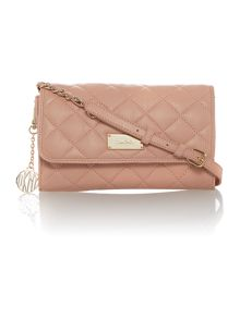Quilt light pink small flap over cross body bag