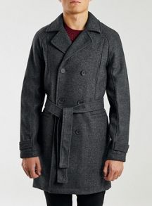 Check wool blend trench coat