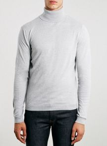 Topman Grey Twisted Yarn Rollneck Jumper