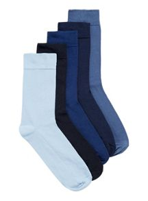 Topman Blue Plain 5 Pack Socks