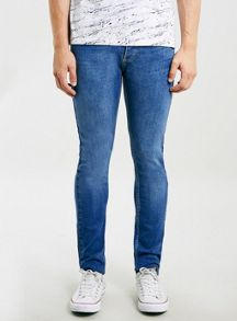 Topman Bright wash stretch skinny jeans