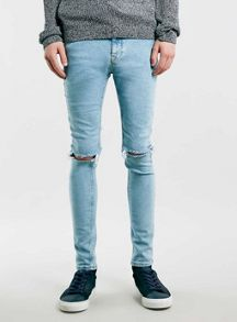Topman Light wash ripped spray on skinny jeans