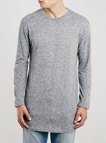 Topman Long sleeve ribbed long line t-shirt