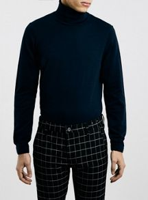Topman Navy roll neck