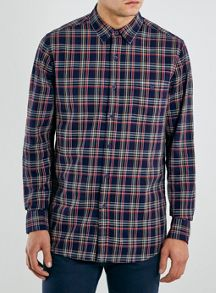 Topman Long sleeve check shirt