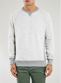 Topman Ltd core bone marl sweatshirt