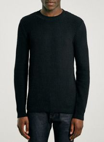 Grid texture crew neck jumper