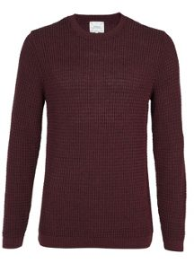 Topman Twist grid texture crew neck jumper