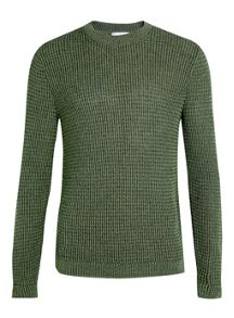 Topman Grid stitch textured crew neck jumper