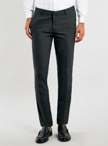 Topman Charcoal ultra skinny fit trousers