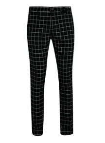 Topman Black oversized check chino